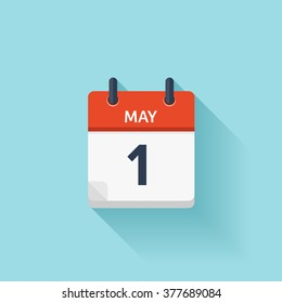 May 1 . Calendar icon.Vector illustration,flat style.Date,day of month:Sunday,Monday,Tuesday,Wednesday,Thursday,Friday,Saturday.Weekend,red letter day.Calendar for 2017 year.Holidays in May.