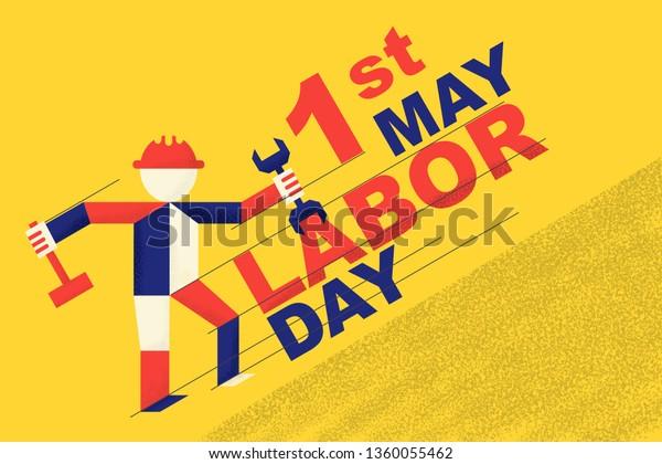 May 1 Labor Day Greeting Card Stock Vector Royalty Free 1360055462