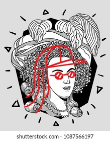 May 10, 2018: modern vector Illustration Marie Antoinette with cap and glasses