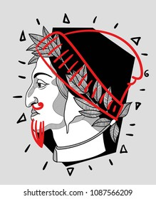 May 10, 2018: modern vector Illustration Dante Alighieri with cap and beard