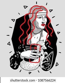 May 10, 2018: modern vector Illustration Lady with an Ermine by Leonardo da Vinci with phone and long hair
