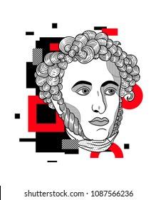 May 10, 2018: modern vector Illustration Alexander Sergeyevich Pushkin. Glitch