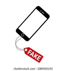 MAY 13, 2018: Fake and counterfeit smartphone. Illegal copy of original branded Iphone and mobile is sold by seller in the shop and retail. Cheap replica and imitation of product. Vector illustration