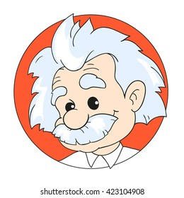 MAY 14, 2016: A vector illustration of a portrait of  Albert Einstein. Cartoon portrait isolated, vector editorial. Einstein, scientist, professor, genius, mathematician, physicist, chemist
