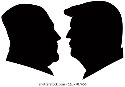 MAY 14, 2018: US President Donald Trump and Kim Jong Un black and white silhouettes Illustration.   Upcoming Summit June 2018 between USA and North Korea leaders in Singapore
