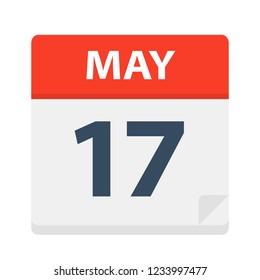 May 17 - Calendar Icon - Vector Illustration