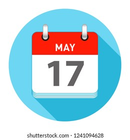 May 17 Date on a Single Day Calendar in Flat Style with long flat shadow on a blue background