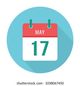 May 17 icon calendar flat. Date.