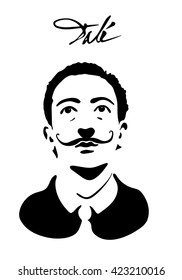 May 19, 2016: vector illustration of a portrait of Salvador Dali with signature