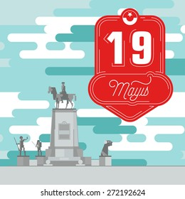 May 19th Commemoration of Ataturk, Youth and Sports Day Badge with Statue of Ataturk