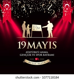 May 19th Turkish Commemoration of Ataturk, Youth and Sports Day Typographic Badge. (Turkish: 19 Mayis, Ataturk'u Anma, Genclik ve Spor Bayrami) Statue of teacher Ataturk with students silhouettes.