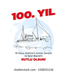 May 19th Turkish Commemoration of Ataturk, Youth and Sports Day, 100th Anniversary, Bandırma ship drawing with Turkish flag symbols