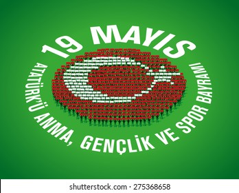 May 19th, Turkish Commemoration of Ataturk, Youth and Sports Day, People forming Turkish Flag (human mosaic)