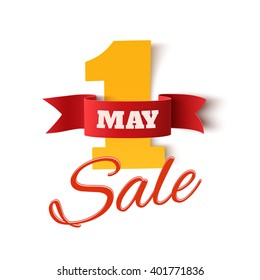 May 1st. Sale. Labor Day background. Poster or brochure template isolated on white. Vector illustration.