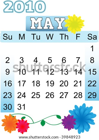 May 2010 Month Calendar Flora Flower Stock Vector (Royalty Free