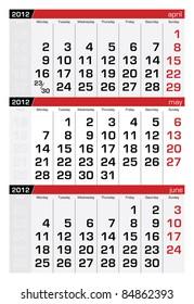 May 2012 Three-Month Calendar