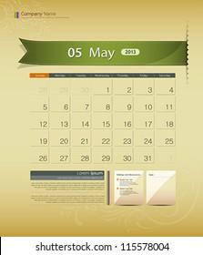 May 2013 calendar ribbon design, vector illustration