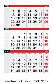 May 2013 Three-Month Calendar