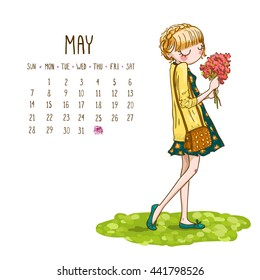 May. 2017 calendar with cute cartoon fashion girl with flowers , bright spring image. Can be used like greeting cards.