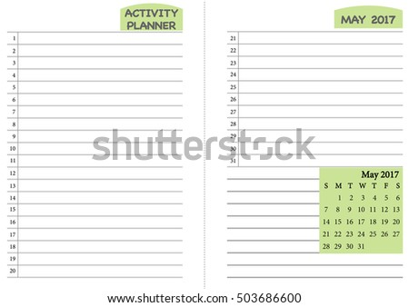 May 2017 Calendar Template Monthly Planner Stock Vector Royalty