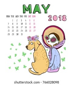May. 2018 calendar. Cute girl with dog. Can be used like greeting cards.