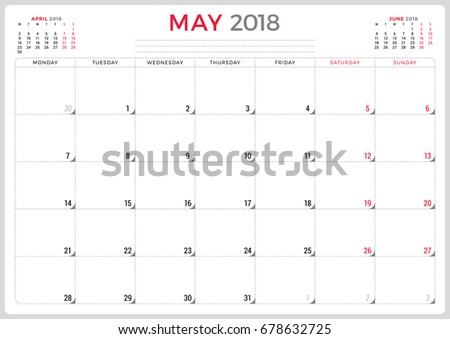 may 2018 calendar planner design template stock vector royalty free