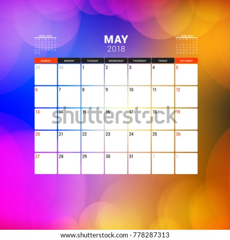 may 2018 calendar planner design template with abstract background week starts on sunday