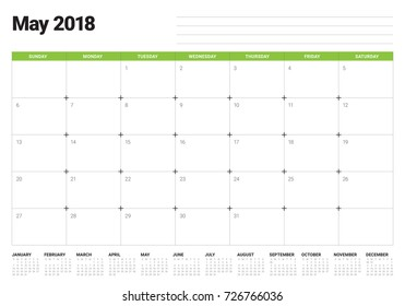May 2018 calendar planner vector illustration, simple and clean design.