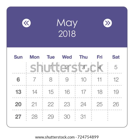 may 2018 calendar vector illustration simple and clean design