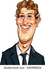 May, 2018: CEO and Entrepreneur Mark Zuckerberg. Vector caricature on a white background