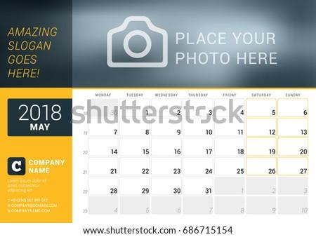May 2018 Desk Calendar 2018 Year Stock Vector Royalty Free