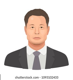 May, 2018. Elon Reeve Musk - the famous entrepreneur and founder, richest businessman. Vector flat portrait isolated on a white background
