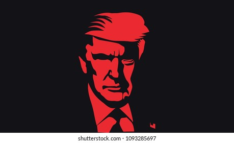 May 2018: US President Donald Trump vector portrait.