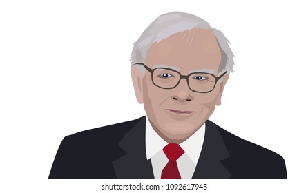 May 2018: Warren Buffett, American business magnate, investor, and philanthropist. Vector portrait on white background.