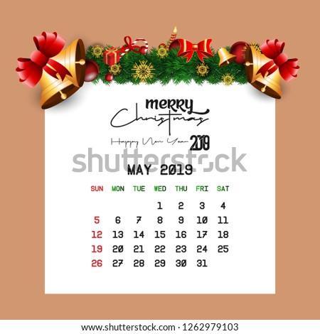 May 2019 Calendar Template Stock Vector (Royalty Free) 1262979103