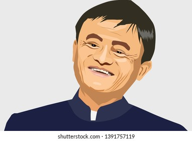 May, 2019: Jack Ma vector portrait. Famous entrepreneur and CEO Jack Ma