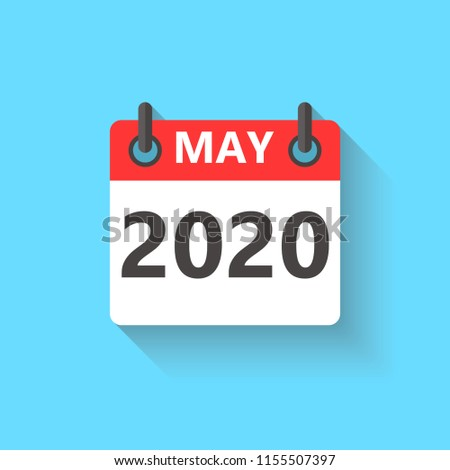 May 2020 Calendar Flat Style Icon Stock Vector Royalty Free