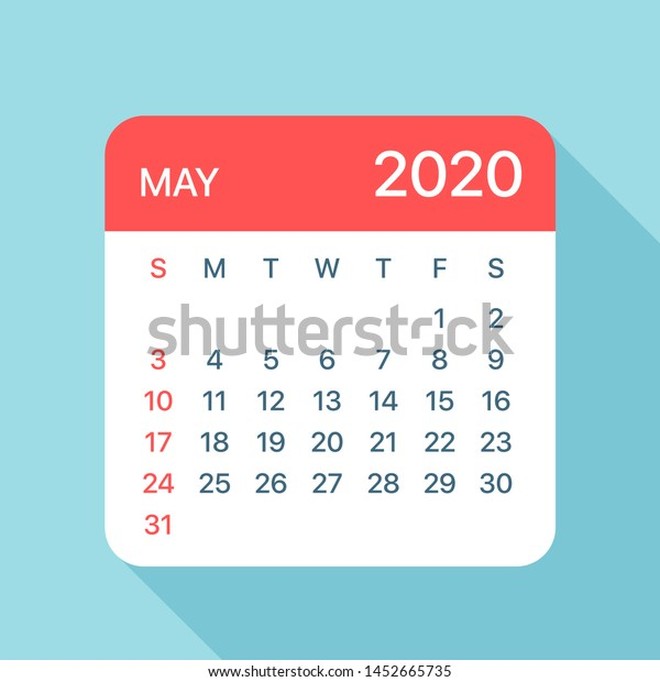 May 2020 Calendar Leaf Illustration Vector Stock Vector