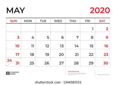 May 2020 Calendar template, Desk calendar layout  Size 9.5 x 6.5 inch, planner design, week starts on sunday, stationery design, vector Eps10