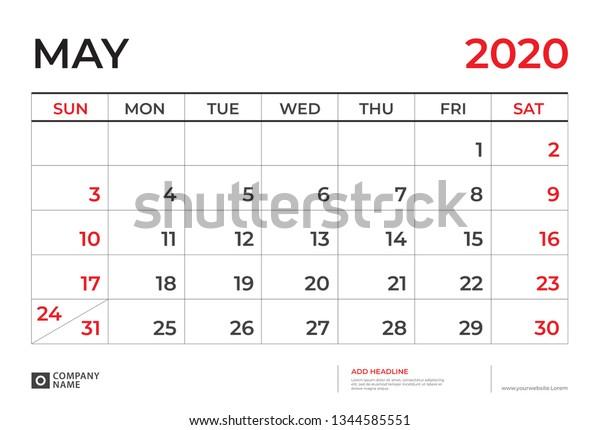 May 2020 Calendar Template Desk Calendar Stock Vector