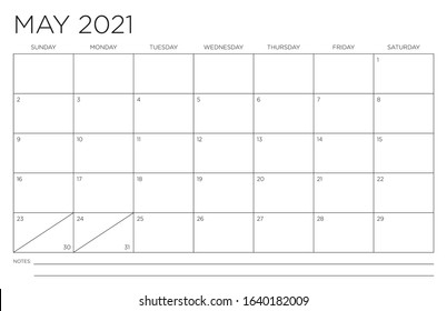 May 2021 Single Month Calendar Page Fits 11x17 Inch Print Modern Blank Template