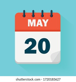 May 20th. Daily calendar icon in vector format.  Date, time, day, month. Holidays