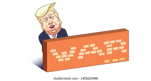 "May 21, 2019. Caricature drawing of  Donald Trump with brick wall. The President of United States of America. The word ""WAR"" which is  the trade war between the two countries. US -China."
