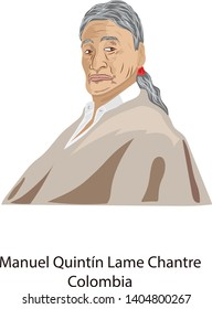 May 22, 2019, Illustration vector isolated of Manuel Quintin Lame Chantre, Colombia.