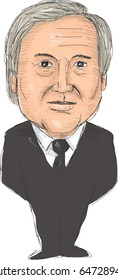 May 24, 2017: Watercolor style illustration of Antonio Manuel de Oliveira Guterres, a Portuguese politician who is the ninth Secretary-General of United Nations  done in cartoon caricature style.