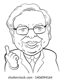 """May 24, 2019. Caricature Illustration. Character drawing of Warren Buffett, The Investor in USA. He is an one of the richest businessmen in the world. his investment philosophy """"Value investing""""."""