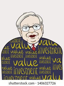 """May 24, 2019. Caricature Illustration. Character drawing of Warren Buffett, The Investor in USA. He is an one of the richest businessmen in the world. """"VI"""" means his philosophy """"Value investing""""."""