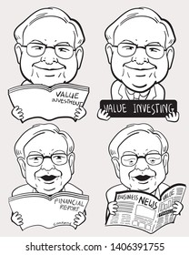 """May 24, 2019. Caricature Illustration. Character drawing set of Warren Buffett, The Investor in USA. He is an one of the richest businessmen in the world. """"VI"""" means his philosophy """"Value investing""""."""