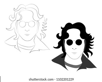 MAY 25 2018: The outline and black white illustration of John Lennon in glasses, eps 8, editorial use only
