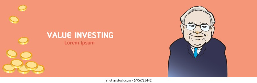 """May 25, 2019. Caricature Illustration. Character drawing of Warren Buffett, The Investor in USA. His philosophy """"Value investing"""" for banner."""